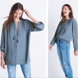 MADEWELL lace up peasant prairie blouse size large